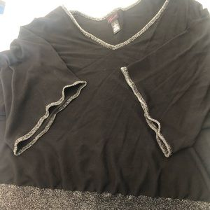 Torrid black and silver plus size v neck top.